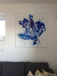 "This painting ""Dancing butterflies"" was painted with acrylics on canvas 100x110 cm."